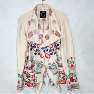 Johnny Was Krisly Embroidered Waterfall Wrap Coat